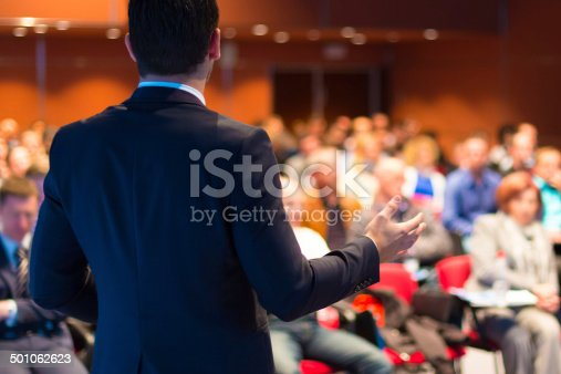 istock Speaker presenting at business seminar 501062623