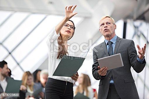 istock Speaker presenting at business seminar 673223800
