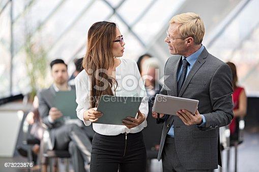 istock Speaker presenting at business seminar 673223876