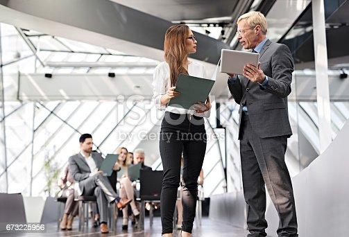 istock Speaker presenting at business seminar 673225956