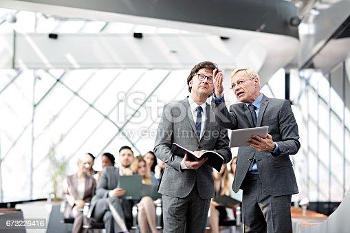 istock Speaker presenting at business seminar 673226416