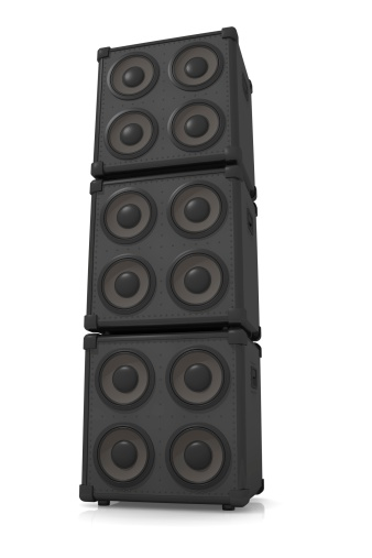 Big stack of speakers on a white background.