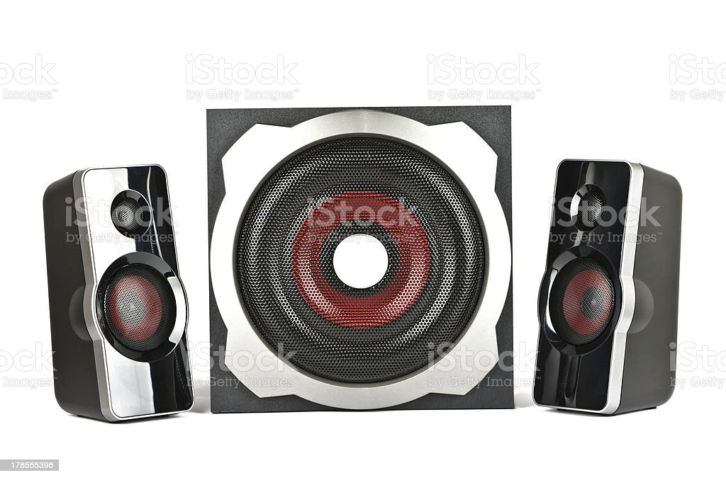 Speaker system with subwoofer royalty-free stock photo