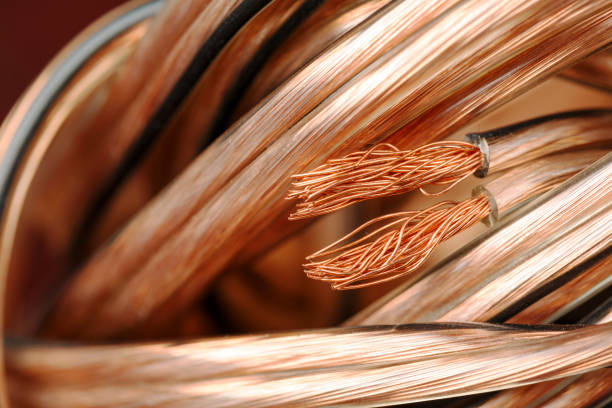 speaker wire bundle - copper stock photos and pictures