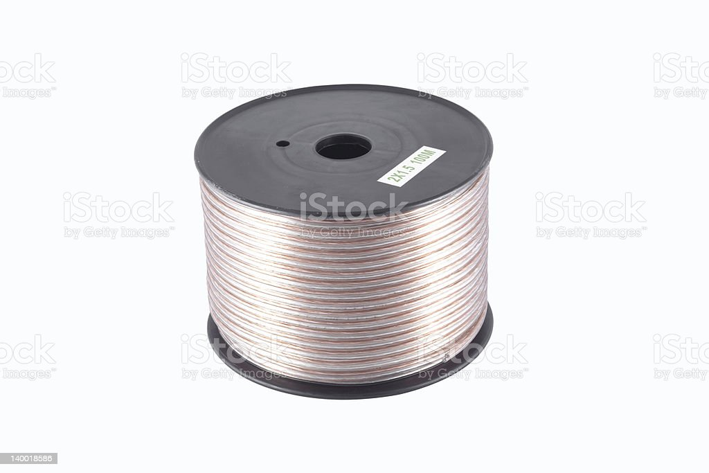Speaker wire on a reel (clipping path included) stock photo
