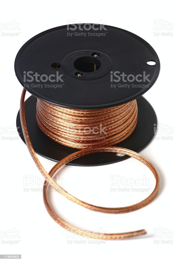 Speaker wire on a reel stock photo