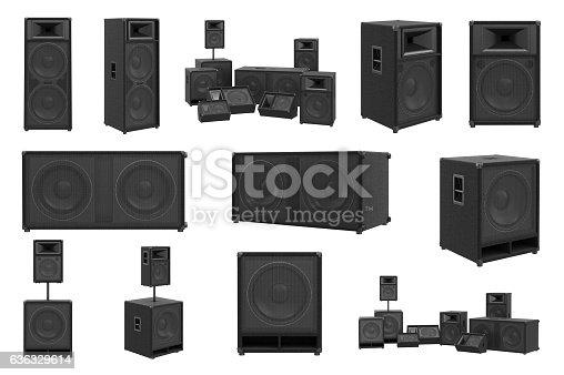 istock Speakers audio loud system set 636329614
