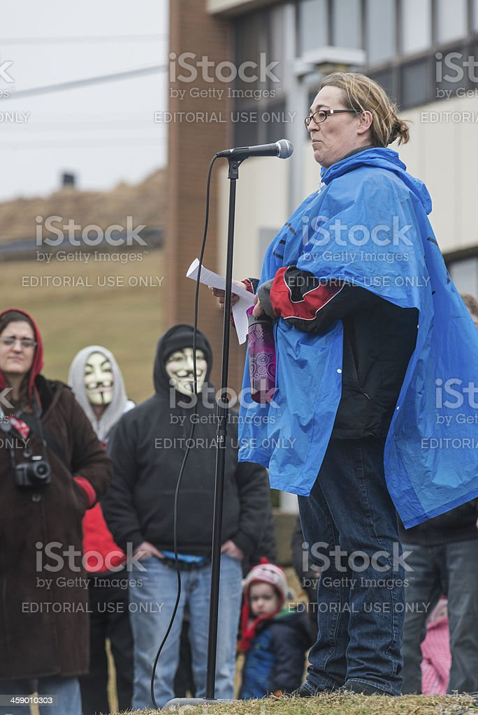 Speaking at Protest stock photo