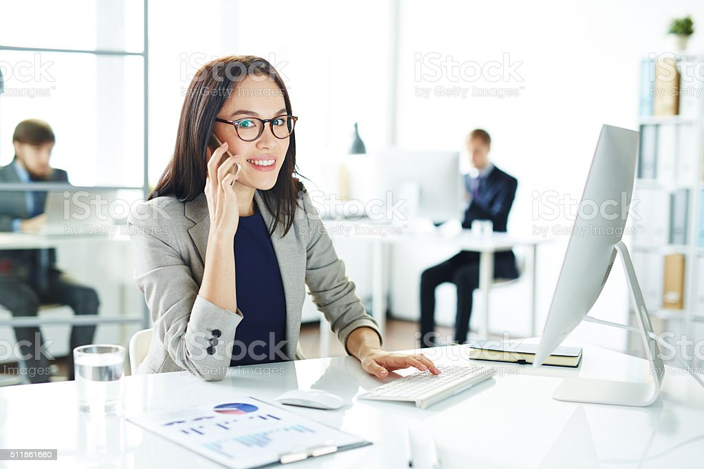 Speaking at workplace stock photo