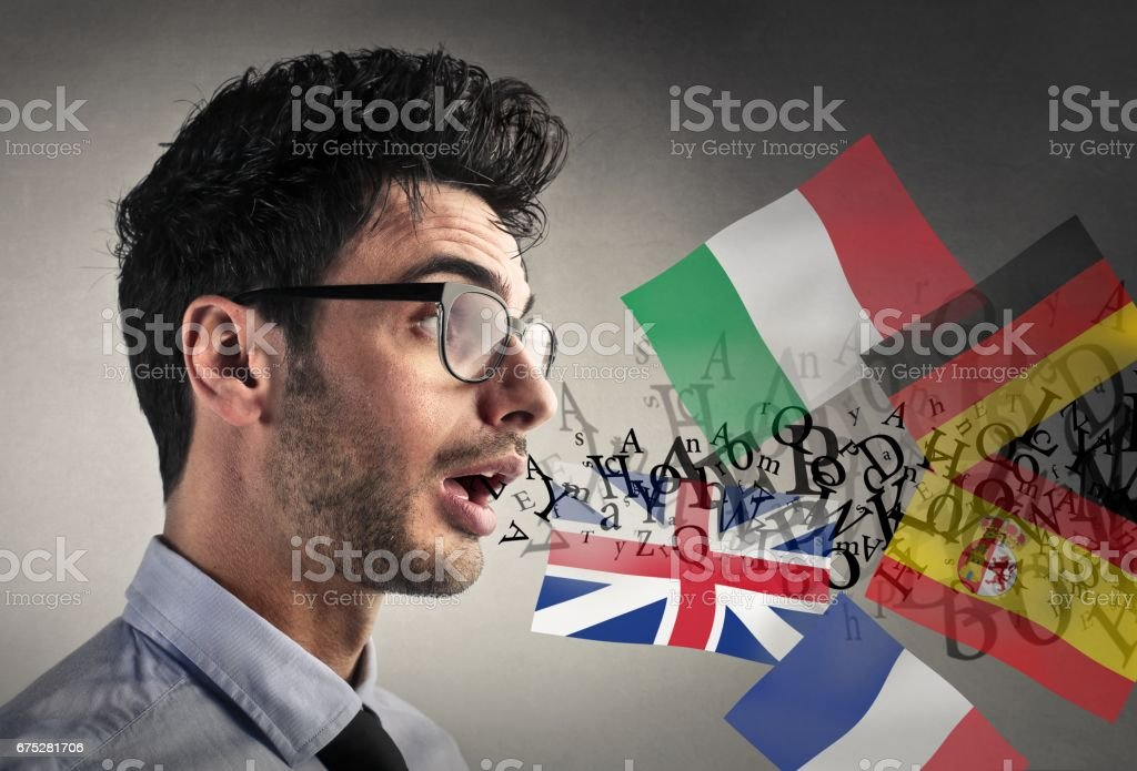 Speaking on different lenguages stock photo