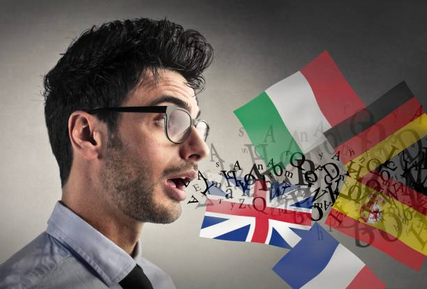 auf verschiedene sprachen sprechen - sprachunterricht stock-fotos und bilder