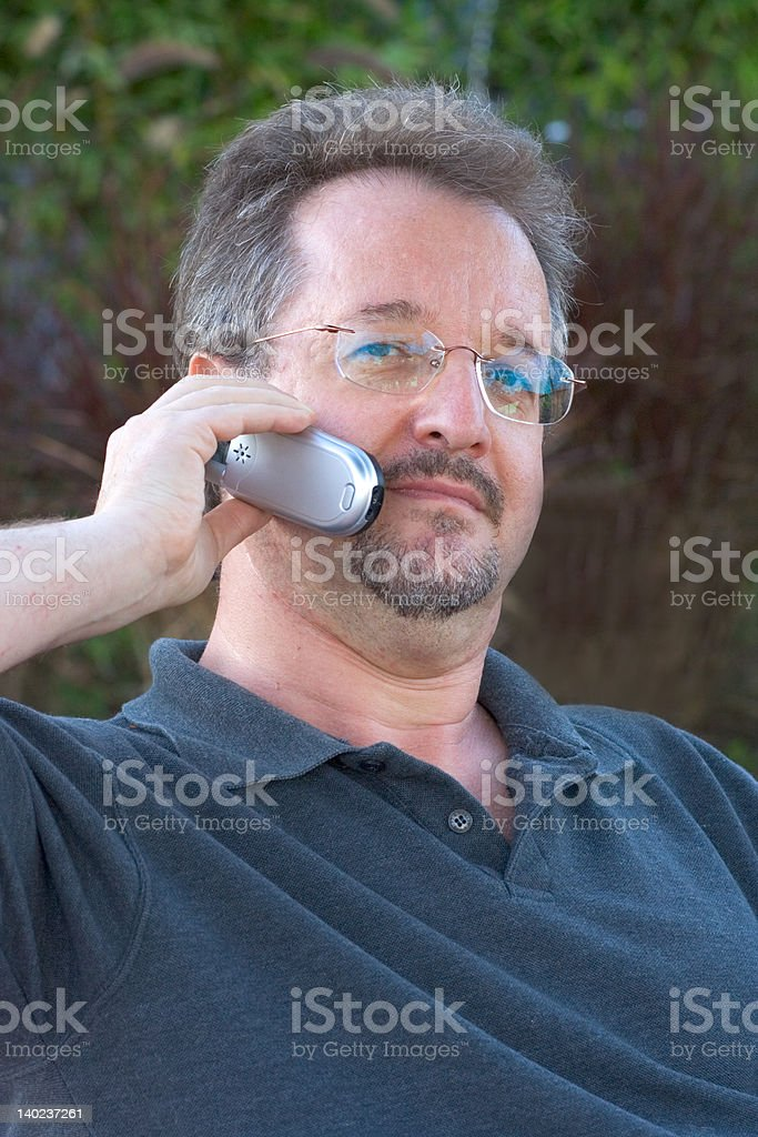 Speaking on phone royalty-free stock photo