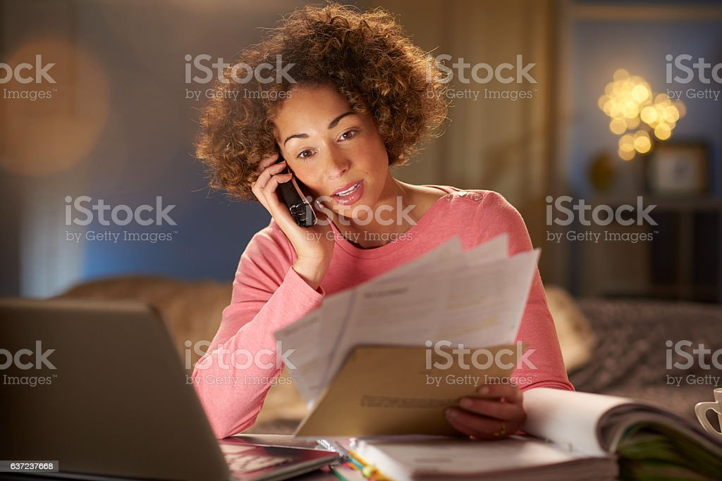 speaking to customer services stock photo