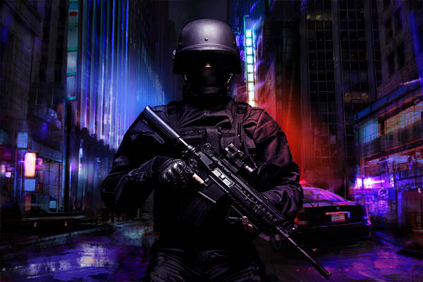 Spec ops police officer stock photo