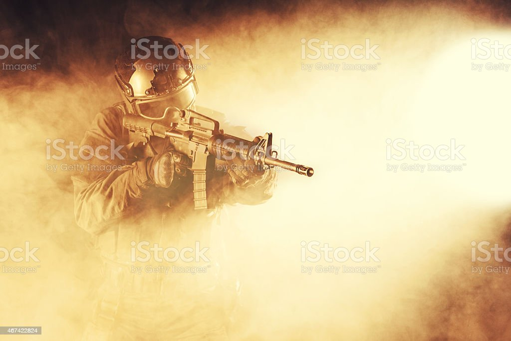Spec ops police officer SWAT stock photo