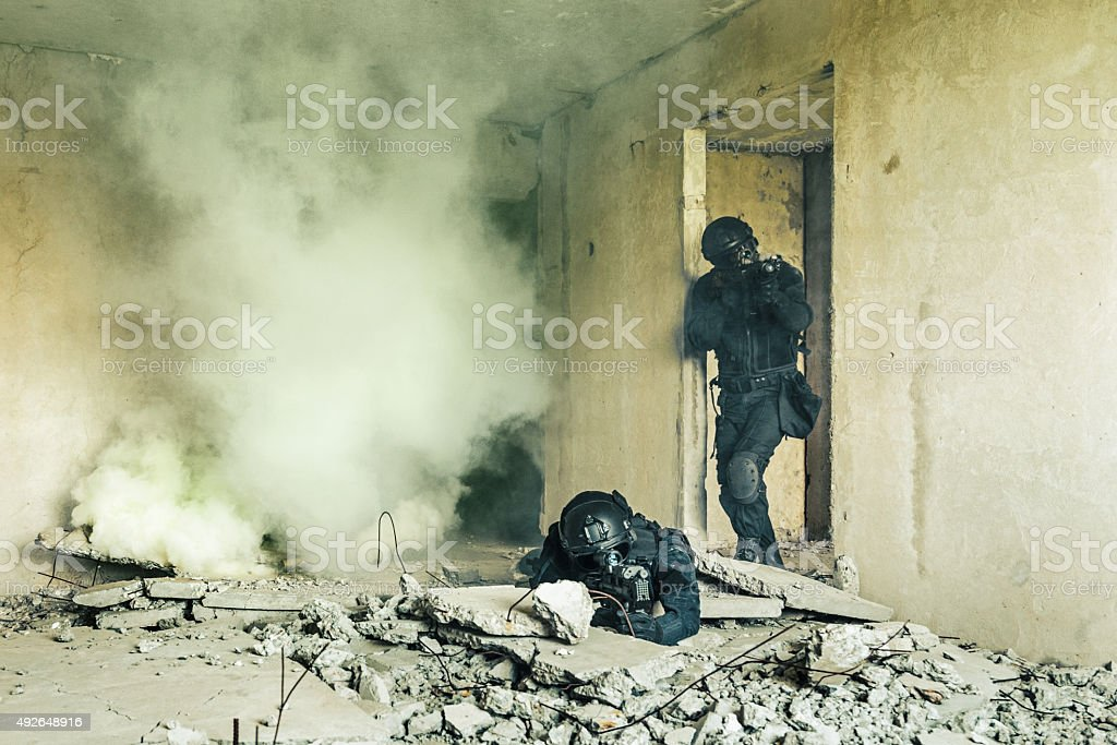 Spec ops police officers SWAT stock photo
