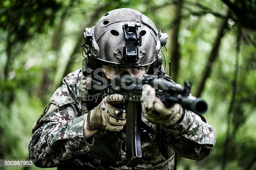 istock Special armed forces in woods 530987952