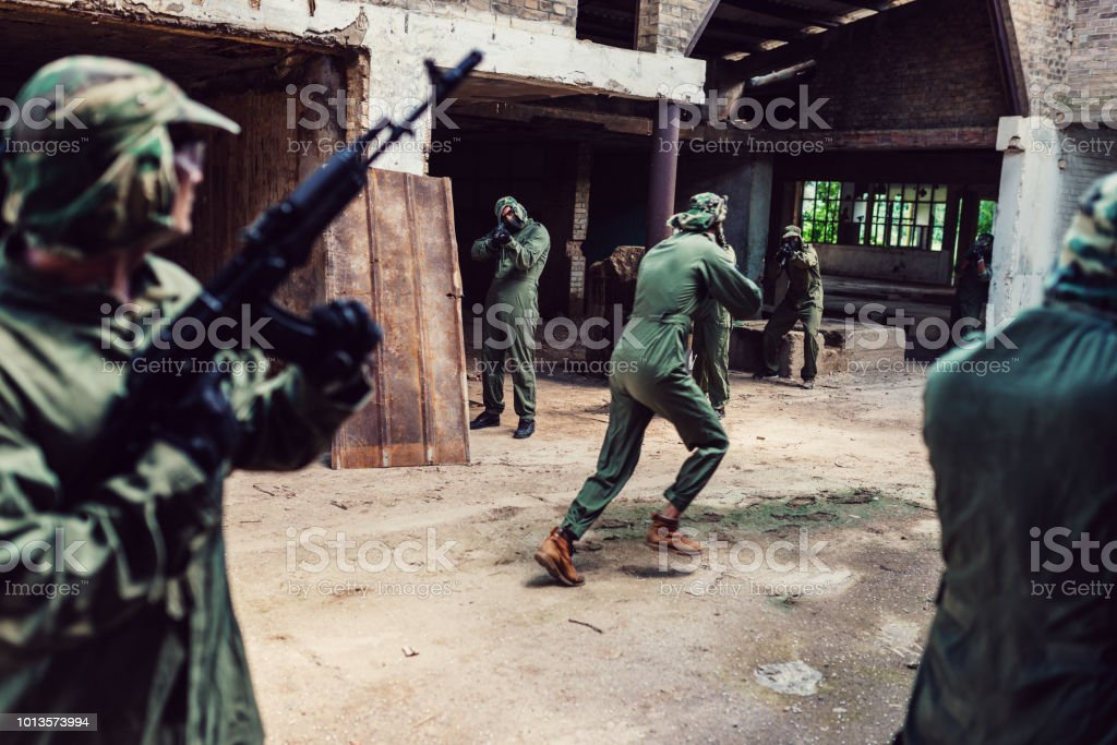 Special army forces in action against terrorism stock photo