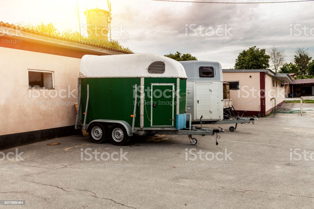 Special built trailer for transporting animals such as camels and horses stock photo