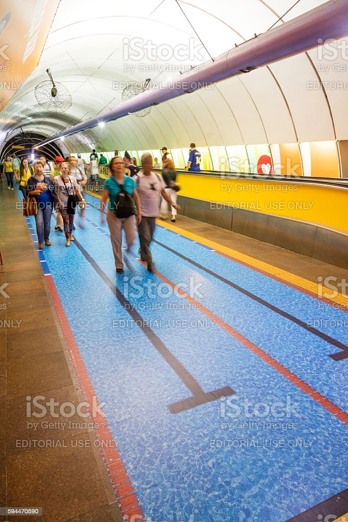 Special decoration in Rio subway during the Olympics stock photo