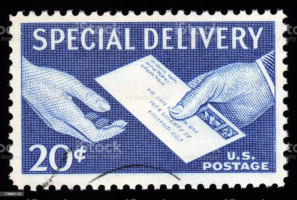 USA Special Delivery Postage Stamp stock photo