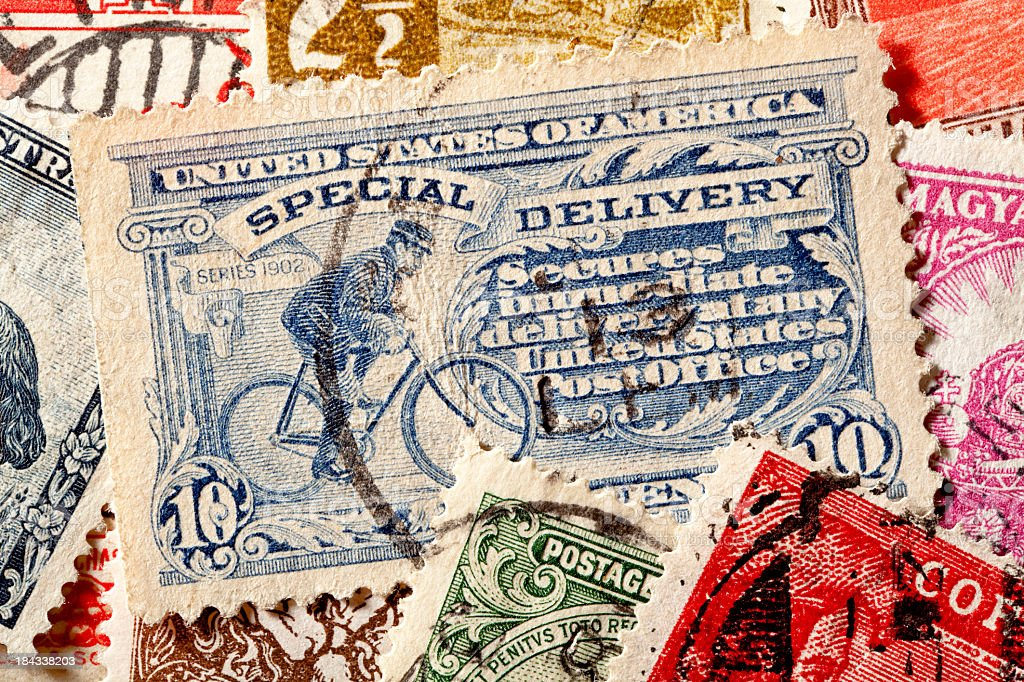 Special Delivery United States Postage Stamps royalty-free stock photo