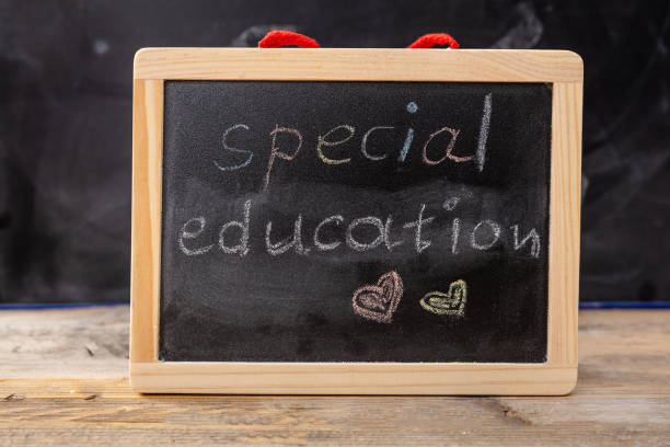 Special education drawing on blackboard with frame - foto stock