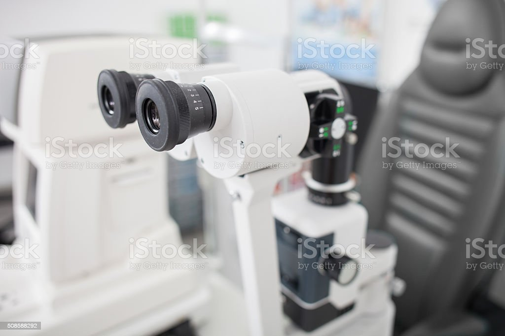 Special equipment for eye examination in oculist lab stock photo