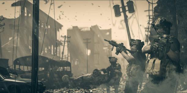 kıyametten sonra şehre giren özel kuvvet askerleri stok fotoğrafı