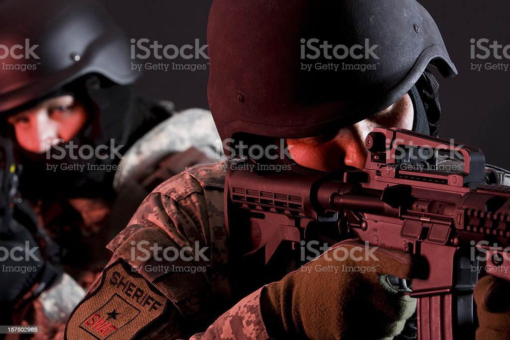 Special Forces in red zone stock photo