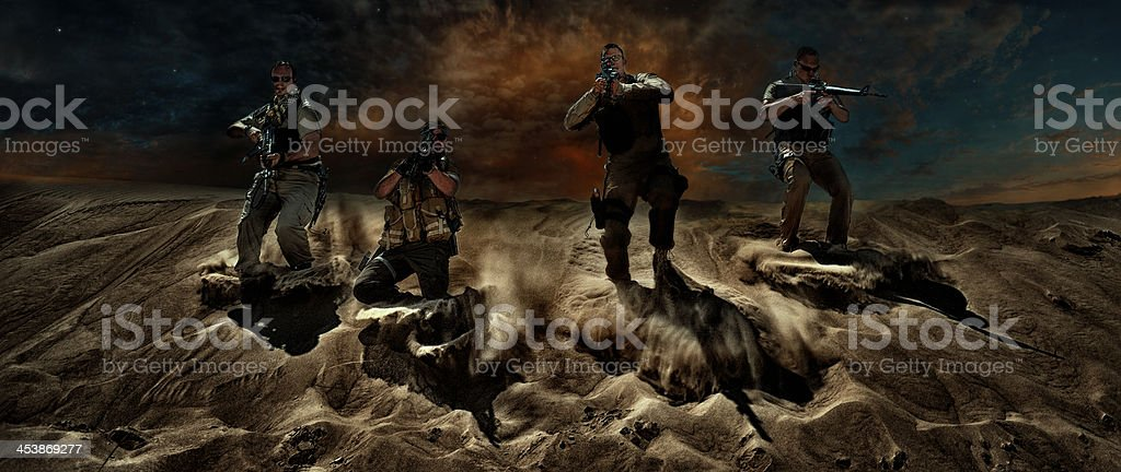 Special Forces - Night  Maneuvers stock photo