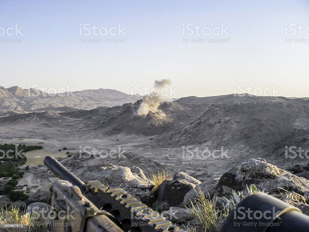 Special Forces sniper in Afganistan stock photo
