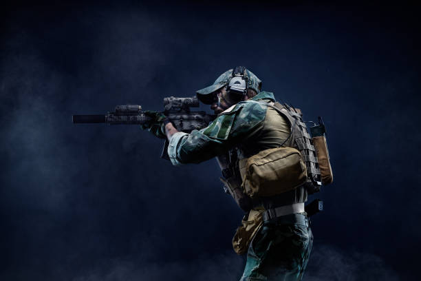 Special Forces soldier in action. Portrait of a Soldier stock photo