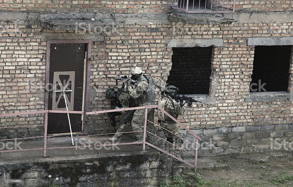 Special forces soldiers  in action stock photo