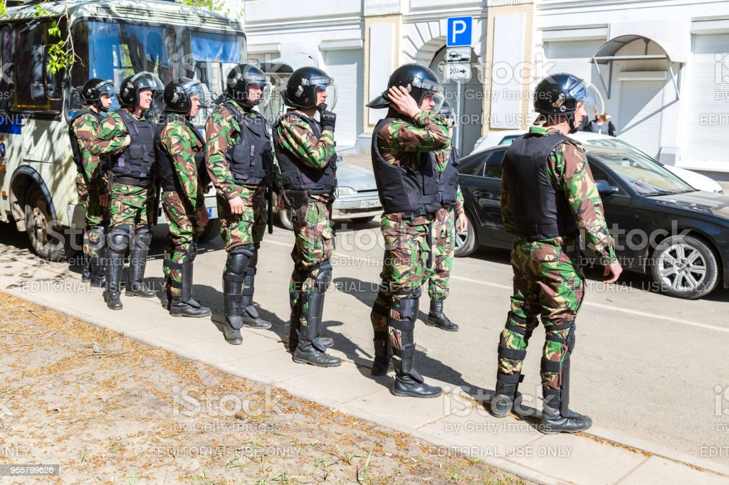 Special Forces soldiers of the police during an opposition protest rally stock photo