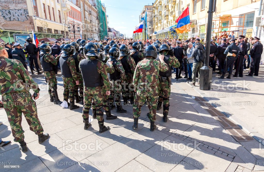 Special Forces soldiers of the police during an opposition protest stock photo