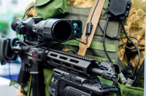 Special Forces Weapon. Assault rifle with sniper night sight. stock photo