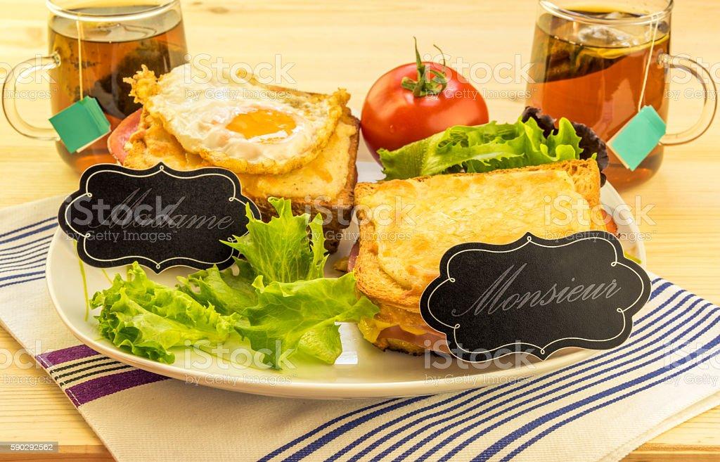 Special french sandwiches for men and women royaltyfri bildbanksbilder