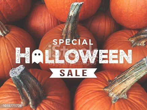 Special Halloween Sale Text Over Harvest Pumpkins Background Texture