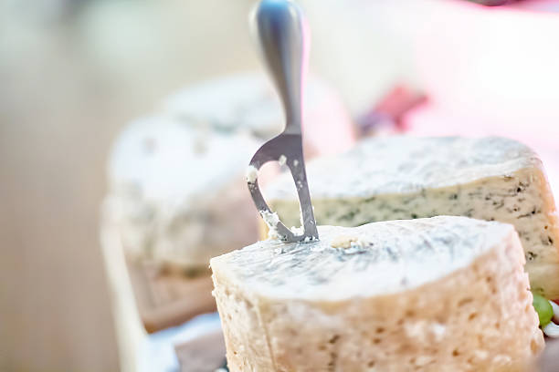 special knife and fancy cheese appetiser as antre at dinner - appetiser stock photos and pictures