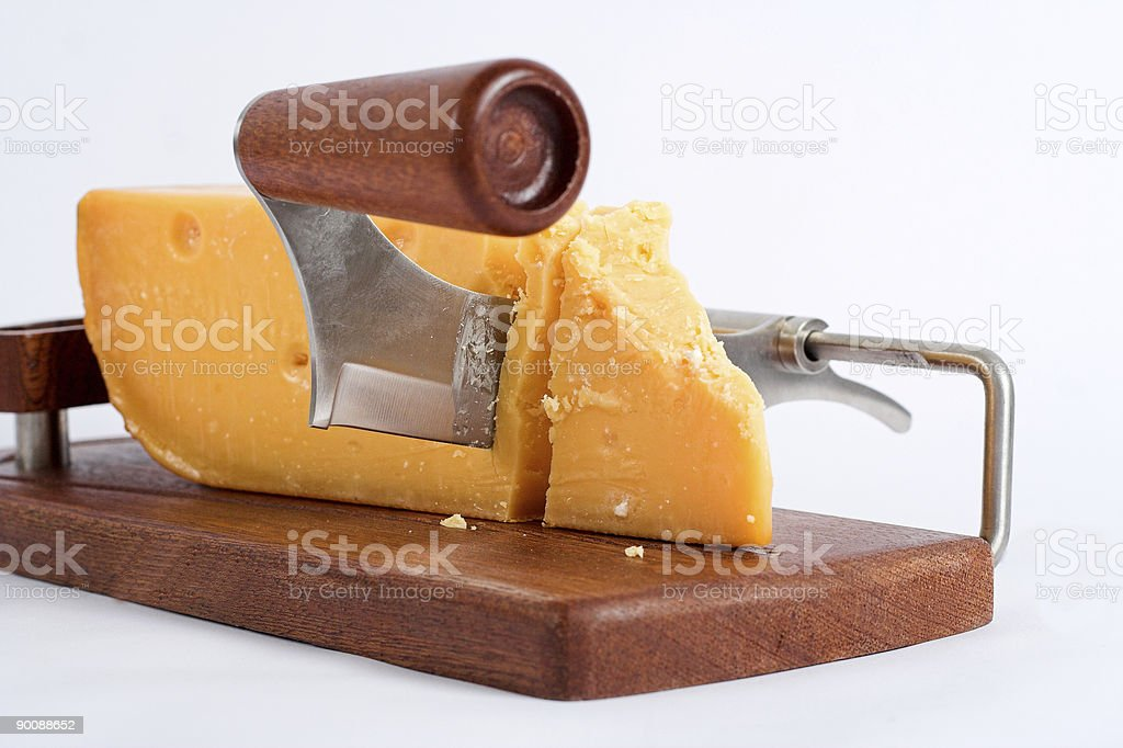 Special knife to cut cheese on White royalty-free stock photo