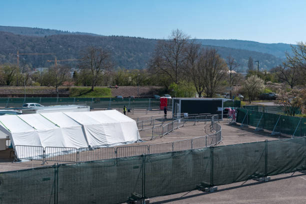 A special mobile corona test center in Heidelberg Germany Heidelberg, Germany – March 27, 2020: View of a special mobile corona test center in Heidelberg, Baden-Württemberg, Germany pap smear stock pictures, royalty-free photos & images