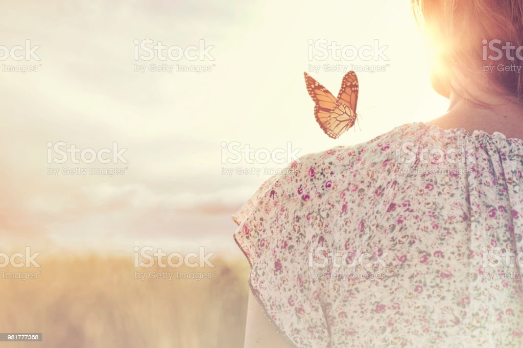 special moment of meeting between a butterfly and a girl in the middle of nature - Zbiór zdjęć royalty-free (Ciało ludzkie)