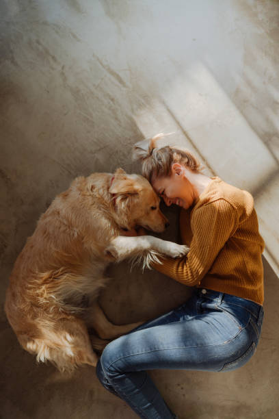 Special moments with a pet stock photo