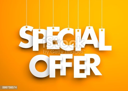 istock Special offer - text hanging on the strings 599758574