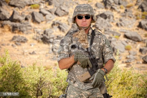 istock Special ops military soldier in a relaxed position 157681257