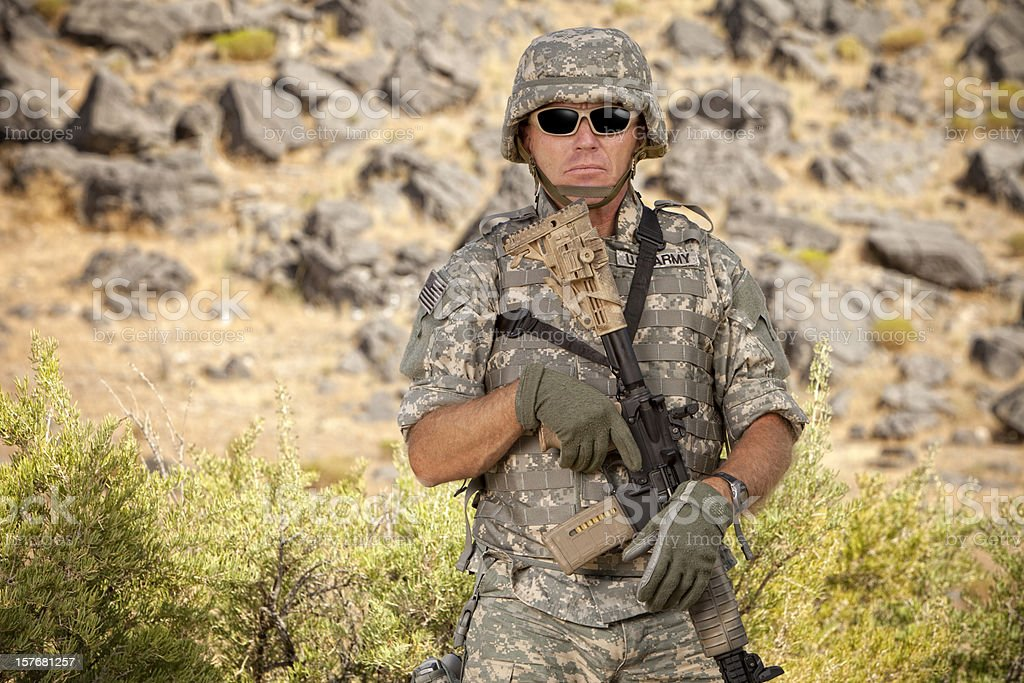 Special ops military soldier in a relaxed position stock photo