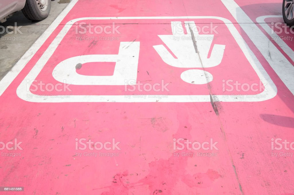 Special Parking places for women in the public car Park, Thailand royalty-free stock photo