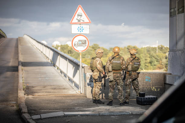 A special police unit is conducting an anti-terrorist operation Kiev, Ukraine - September 18, 2019: Metro bridge. A special police unit is conducting an anti-terrorist operation to eliminate a terrorist who threatened to blow up the bridge. antiterrorist stock pictures, royalty-free photos & images