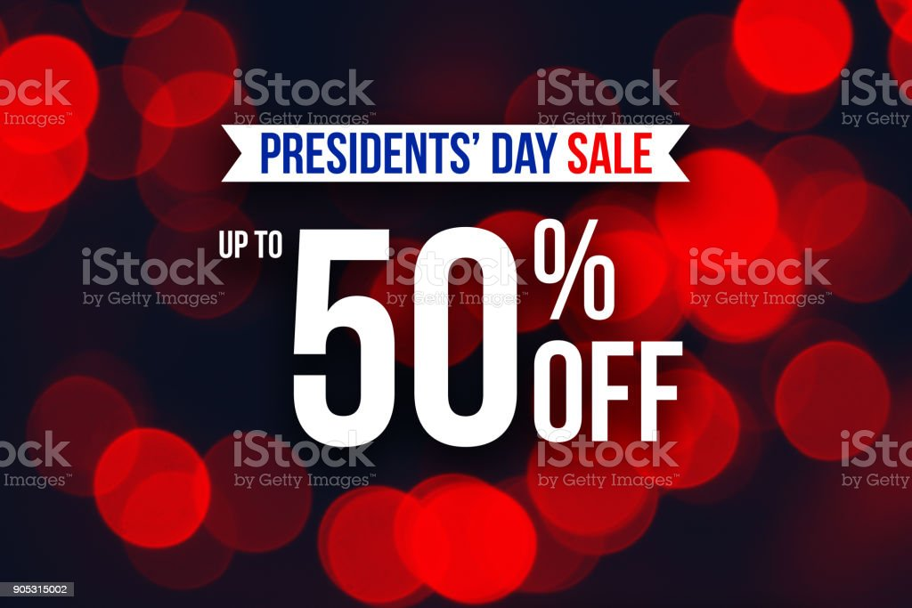 Special Presidents' Day Sale Up To 50% Off Text stock photo
